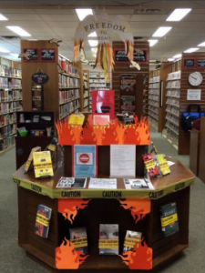 Walworth-Seely Public Library's fiery banned books display