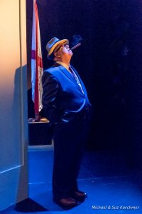"Christopher Chisholm as Senator Higgins in ""Alabama Story"" at Wellfleet Harbor Actors Theater on Cape Cod. Photo credit: Michael Karchmer and Suz Karchmer"