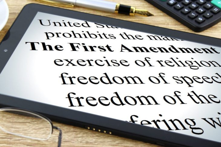 Zoomed-in image of the text of the First Amendment