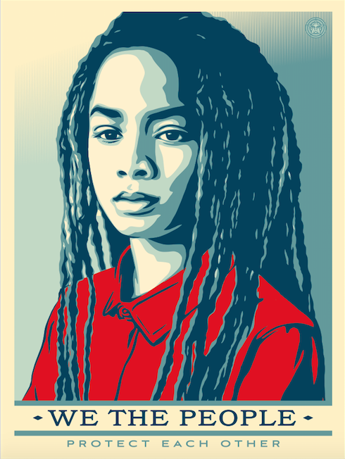 """We the people protect each other."" Shepard Fairey red, white, blue image of African American child with long dreadlocks."
