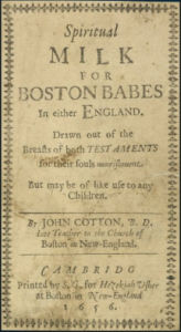 Spiritual Milke for Boston Babes primary document, cover page of 1656 book