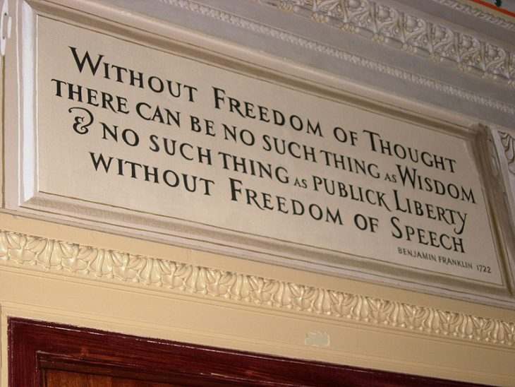 Benjamin Franklin quote: Without freedom of thought there can be no such thing as wisdom and no such thing as public liberty without freedom of speech
