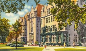 Postcard painted image of Cobb Hall at the University of Chicago