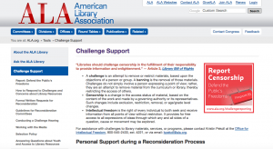 Screen shot of Challenge Support webpage--ALA