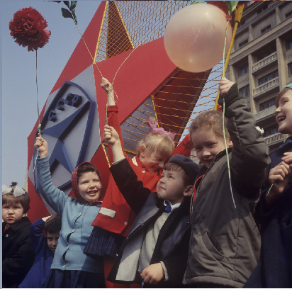 Children on May Day demonstration dedicated to the International Workers' Day. 1 May 1969. This image was provided to Wikimedia Commons by Russian International News Agency