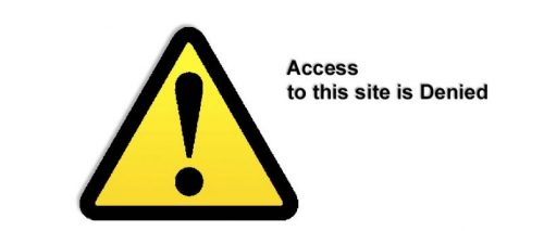 A webpage reading: Internet Site Blocked with an exclamation point inside a triangle