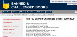 Screen shot of ALA's Top 10 Banned & Challenged Books site with Harry Potter series in the #1 spot