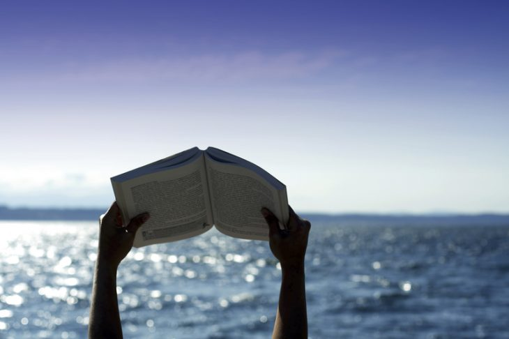Book held aloft with ocean in background