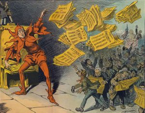 The Yellow Press, showing William Randolph Hearst as a jester handing out newspapers