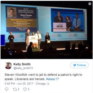@kelly_smith72 Steven Woolfolk went to jail to defend a patron's right to speak. Librarians are heroes. #alaac17
