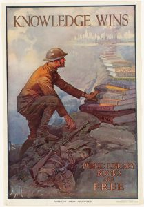 Smith, Dan. Knowledge wins. Public library books are free. 1918, lithograph poster, Boston Public Library.