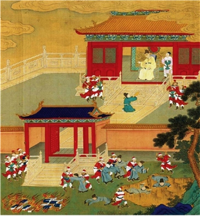 Killing the Scholars and Burning the Books (18th century Chinese painting)
