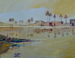 Painting of shoreline with square buildings in shades of yellow
