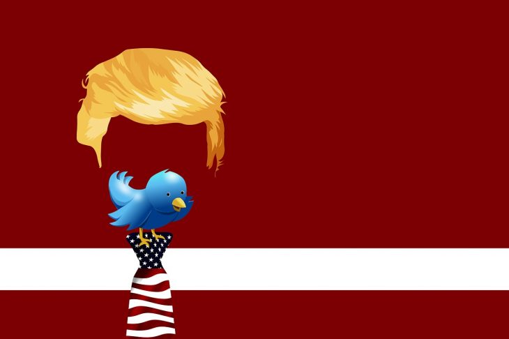 Twitter's bird logo perches on Trump's tie against a red background.