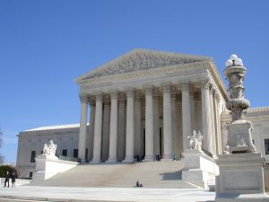 Photo of Supreme Court building, from front.