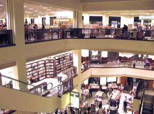 Photo of three-story Barnes and Noble Bookstore