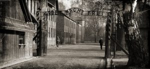 The main gates at Auschwitz concentration camp, where an estimated 1.1 million people were murdered during the Nazi regime.