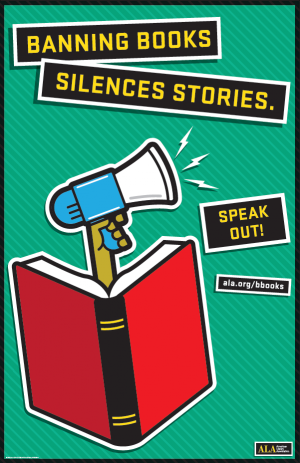 "The Banned Books Week 2018 poster with a green-striped background and yellow font stating ""Banning Books Silences Stories. Speak Out!"" There's a hand with a megaphone coming out from an open red book."