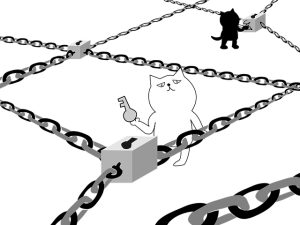 A cartoon image of a cat preparing to unlock a block of data in a chain, while another cat in the background seals a new block to the chain.