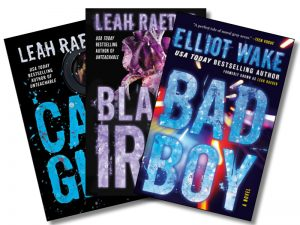 The covers of Elliot Wake's Cam Girl, Black Iris, and Bad Boy