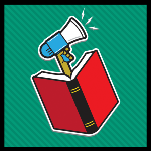 graphic of megaphone speaking out for banned books