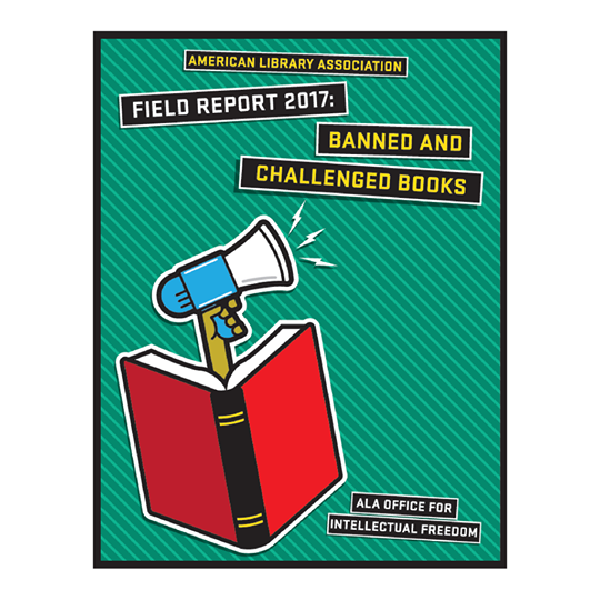 "Cover of ""Field Report"" booklet with red book and blue megaphone sticking out"