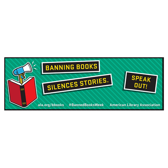 Speak Out! green bookmarks with red book