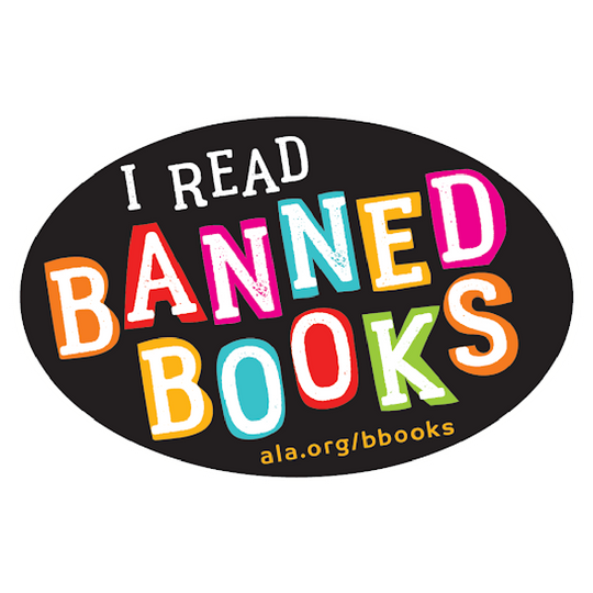 I Read Banned Books black bumper stickers with a variety of colorful letters