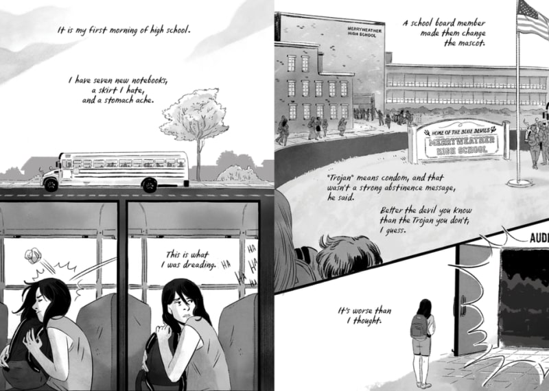 page 2 and 3 of Speak the graphic novel; courtesy of Macmillan Publishers