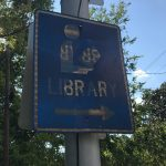 Blue library sign