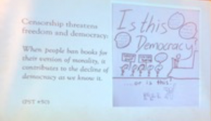 "Student work, drawing of ""Is this democracy?"""