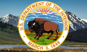 Department of the Interior bison seal set against green mountainous background.