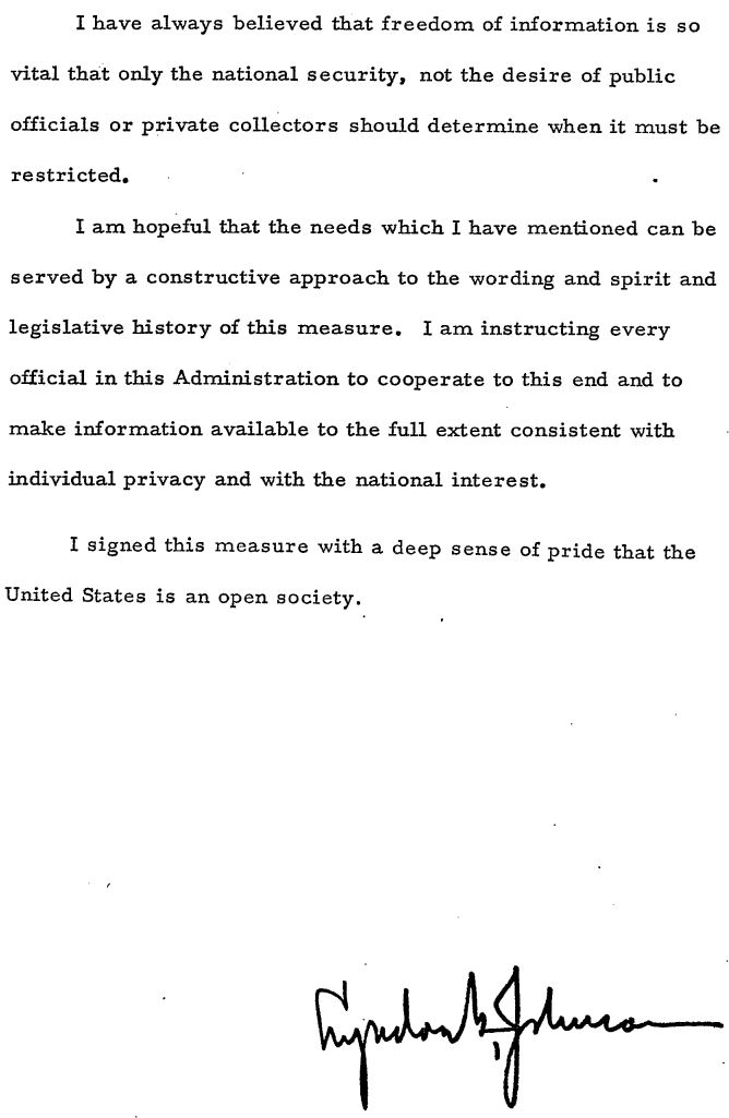 An image of President Lyndon B Johnson's signing statement to the Freedom of Information Act.