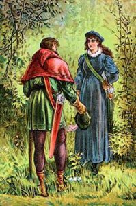 an illustration of Robin Hood facing Maid Marian, his back to the viewer, standing in the woods.