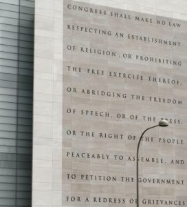 Image of the Five Freedoms of First Amendment on the Newseum building