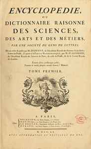 historic book cover of Denis Diderot's Encylopedie