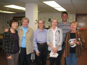 Former and current staff of the Library and Special Collections of the Kinsey Institute. From left to right: Liana Zhou, Saundra Taylor, Joanne Passet, Margaret Harter, Shawn C. Wilson, Ruth Beasley.