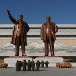 bronze statues of Kim Il-sung and Kim Jong-Il from the Grand Monument on Mansu Hill in Pyongyang, North Korea