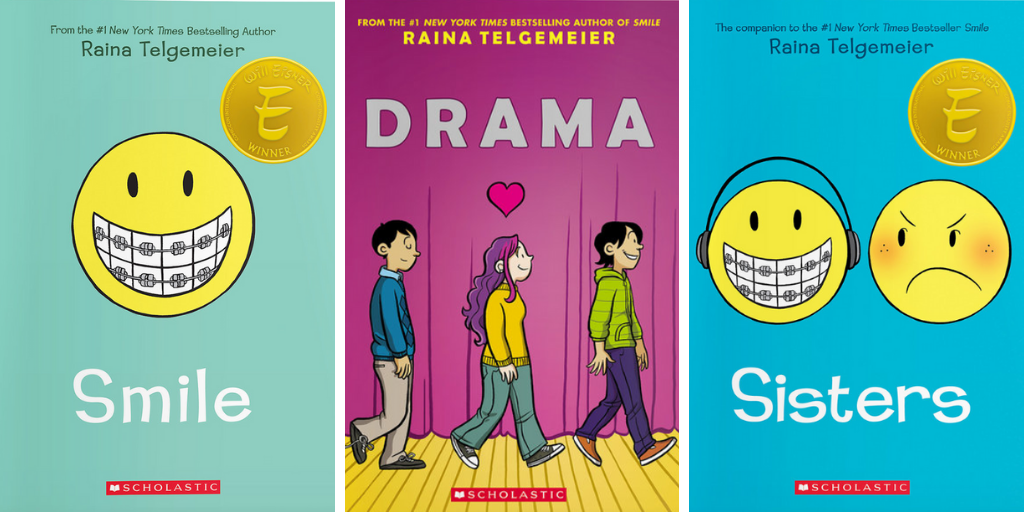 Graphic Novels by Raina Telgemeier, Smile, Drama, and Sisters
