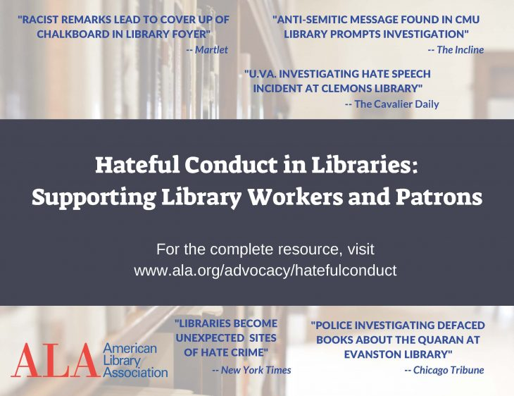 Postcard of the Hateful Conduct in Libraries resource, with quotes from newspapers about hateful conduct in libraries