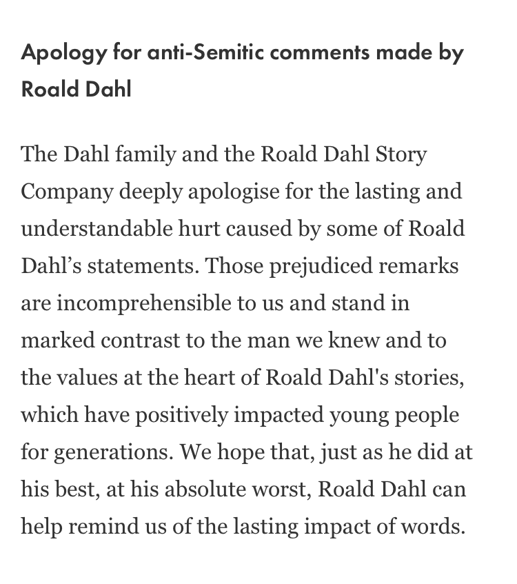 Image of apology statement by the Roald Dahl Story Company