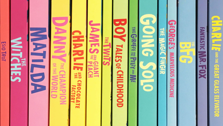 Image of colorful spines of Roald Dahl's books