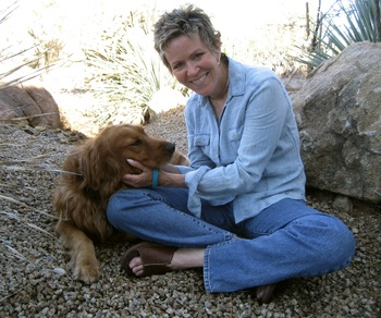 Photo of Barbara Park and her dog, Maggie.