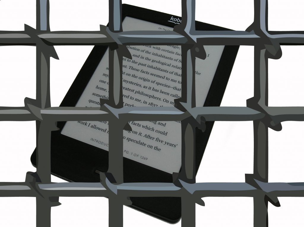 Photograph of an E-Reader with prison bars superimposed over the image.